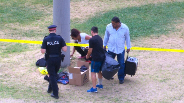 Police were on scene at Christie Pits Park on Saturday, July 30, after two people were shot during a fitness class.
