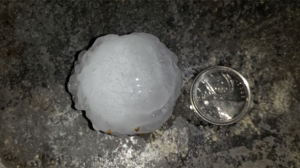 Hail of various sizes fell as the storm moved through the Calgary area.