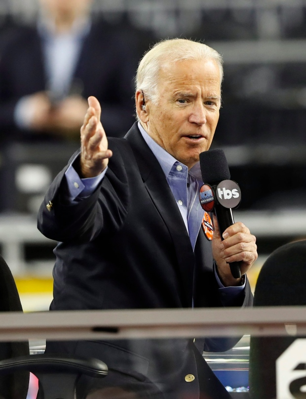 In this April 2, 2016 file photo, U.S. Vice President Joe Biden talks during a television interview in Houston. (AP / Eric Gay)
