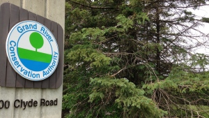 A sign is seen outside the Grand River Conservation Authority headquarters on Friday, June 5, 2015. (Frank Lynn / CTV Kitchener)