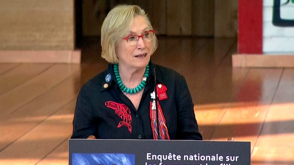 Indigenous Affairs Minister Carolyn Bennett speaks at the launch of an inquiry into murdered and missing indigenous women in Ottawa on Wednesday, Aug. 3, 2016.