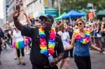 Toronto police chief Mark Saunders marches during the annual Pride Parade in Toronto, Sunday July 3, 2016. THE CANADIAN PRESS/Mark Blinch
