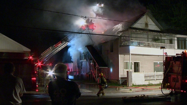 Fire broke out Wednesday evening at a home in Notre Dame de Stanbridge (CTV Montreal/Cosmo Santamaria)