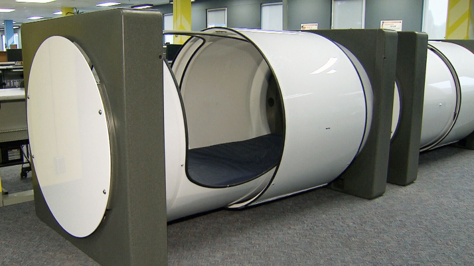 Sleep pods at the British Columbia Institute of Technology
