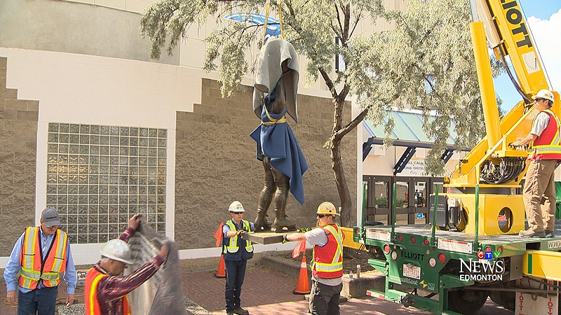 The Wayne Gretzky statue was removed from Rexall Place on Thursday, August 4, 2016.