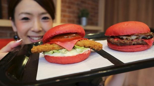 Red burger buns in Japan