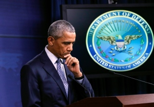 U.S. President Barack Obama pauses talks about the war on terrorism and efforts to degrade and destroy the Islamic State group, during a news conference at the Pentagon in Washington, Thursday, Aug. 4, 2016. (AP / J. Scott Applewhite)