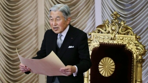 Japan's Emperor Akihito reads a statement to formally open the extraordinary Diet session at the upper house of parliament in Tokyo on Monday, Aug. 1, 2016. (AP / Koji Sasahara)
