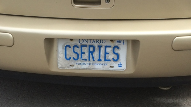 A car with a CSERIES licence plate is parked in Montreal on May 30, 2016. (CTV Montreal/Kevin Gould)