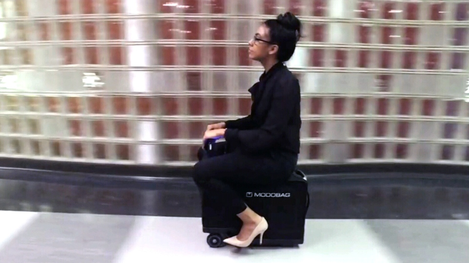 Sick of lugging your luggage get ready to ride motorized for Motorized ride on suitcase