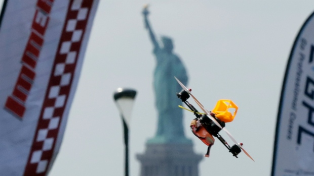 Drone racing in New York City