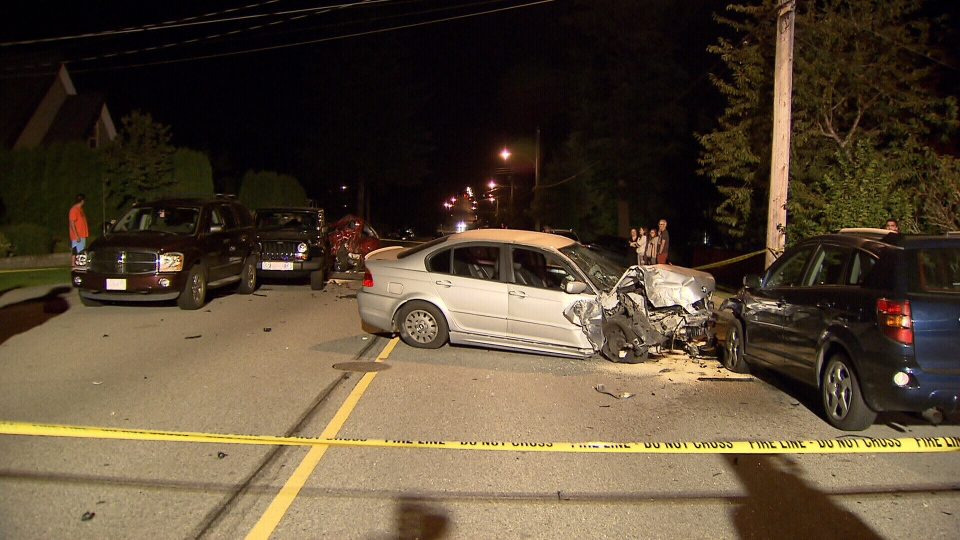 Witnesses said a man was driving a BMW about 100 kilometers per hour along Linton Avenue just after 12:00 a.m. and ended up hitting four parked cars. (CTV)