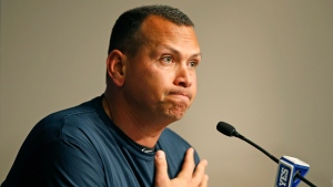 New York Yankees designated hitter Alex Rodriguez announces that Friday, Aug. 12, 2016, will be his last game as a player during a news conference at Yankee Stadium in New York, Sunday, Aug. 7, 2016. Rodriguez will continue on in a role as a special advisor to the team and an instructor through Dec. 31, 2017. (AP Photo/Kathy Willens)