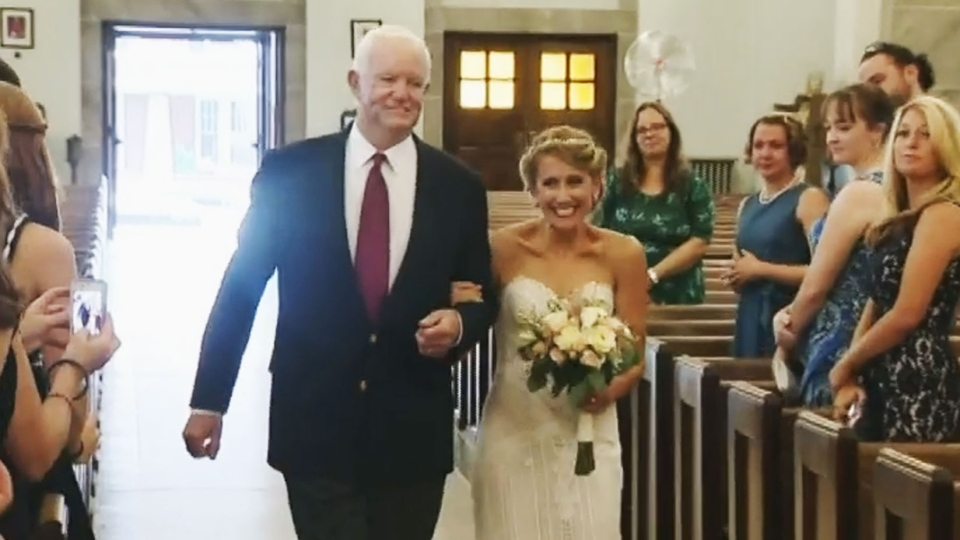 bride escorted down aisle received fathers donated heart