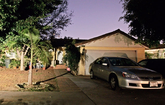 The home of the Southern California woman who gave birth to octuplets this week is seen in Whittier, Calif. on Thursday, Jan. 29, 2009.  (AP / Damian Dovarganes)