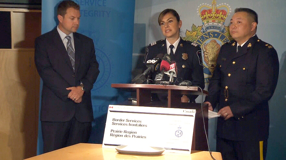 Officials deliver an update after a Calgary man was charged with importing a dangerous synthetic drug that can be 100 times more powerful than deadly fentanyl, in Calgary, Tuesday, Aug. 9, 2016.