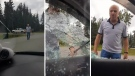 Video posted online shows a man, who identified himself as Dennis Tissington, smashing out windows of a man's car. Composite image.