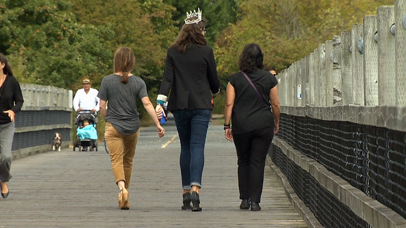 Six-foot-five Victoria woman Lauren Bath says she's using a victory in a pageant for tall women to inspire others like her to stand proud. Aug. 9, 2016. (CTV Vancouver Island)