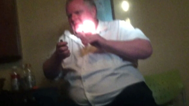 Rob Ford is shown smoking in this still image from a cellphone video taken in 2013, and released on Aug. 11, 2016.