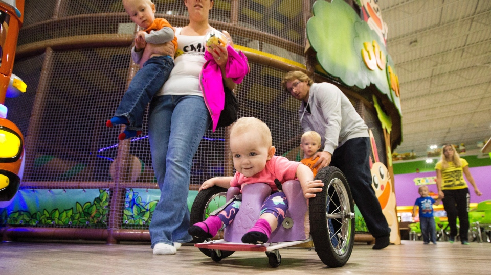 One-year-old Eva Moore plays at an indoor play ground in Edmonton Alta, on Tuesday August 9, 2016. (THE CANADIAN PRESS/Jason Franson)