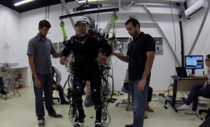 Patients were trained to use brain-machine interfaces with robotic exoskeletons that included a virtual reality system. Participants used their own brain activity to simulate full control of their legs. (Source: Duke University)