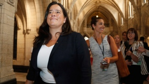 Justice Minister Jody Wilson-Raybould leaves after appearing at the House of Commons Standing Committee on Justice and Human Rights on Parliament Hill in Ottawa on Aug. 11, 2016. (THE CANADIAN PRESS / Patrick Doyle)