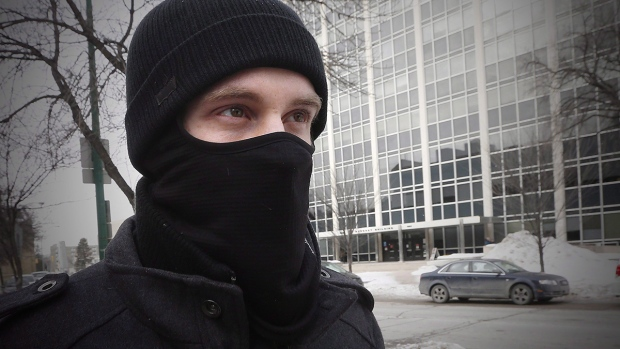Aaron Driver leaves the Law Courts in Winnipeg