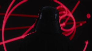 Darth Vader is shown examining plans for the Death Star in this image from the trailer for 'Rogue One: A Star Wars Story.' (YouTube / Star Wars)