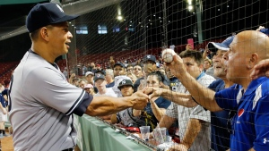 New York Yankees' Alex Rodriguez greets fans in Boston, Thursday, Aug. 11, 2016. The Yankees won 4-2. (AP Photo/Michael Dwyer)