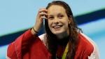 Canada's Penny Oleksiak celebrates winning gold at the 2016 Summer Games in Rio, on Aug. 12, 2016. (Natacha Pisarenko / AP)