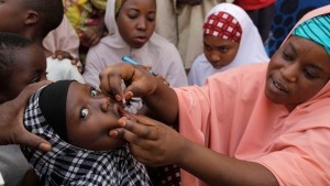 In this Sunday, April 13, 2014 file photo, an unidentified health official administers a polio vaccine to a child in Kawo Kano, Nigeria. (AP /  Sunday Alamba, File)