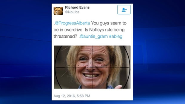 August 12 Twitter message with an image of Premier Rachel Notley viewed through a scope (Twitter)