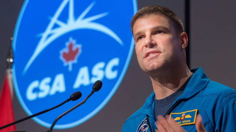 Canadian astronaut Jeremy Hansen addresses employees during an announcement at the Canadian Space Agency, in St-Hubert, Que., on Thursday, Jan. 7, 2016. THE CANADIAN PRESS/Paul Chiasson