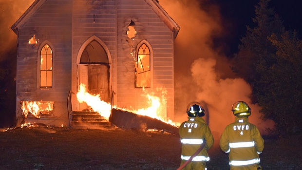 The St. John's Anglican Church in Point Edward, N.S., was completely destroyed during a fire early Sunday morning.(Photo: Mark Voutier)