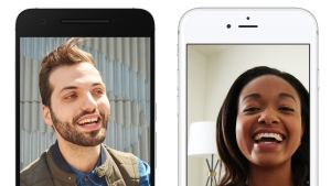 This image provided by Google shows its video chatting app on mobile devices.The new app, announced in May, is being released Tuesday, Aug. 16, 2016, as a free service for phones running on Google's Android operating system as well as Apple's iPhones. (Google via AP)