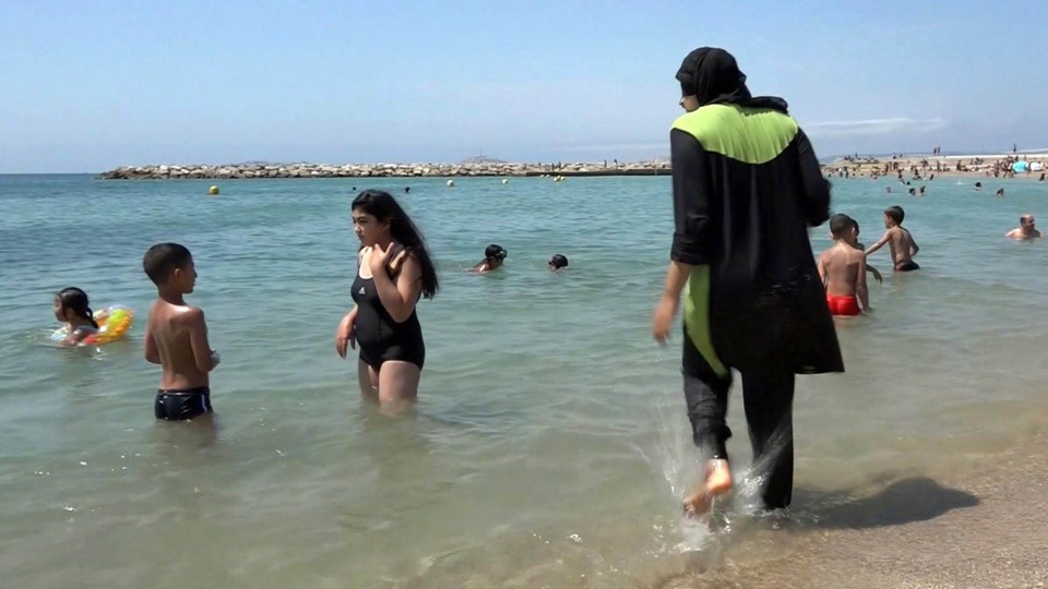 Wearing a burkini in Marseille, France