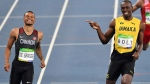 Jamaica's Usain Bolt and Canada's Andre De Grasse, left, compete in a men's 200-meter semifinal during the athletics competitions of the 2016 Summer Olympics at the Olympic stadium in Rio de Janeiro, Brazil, Wednesday, Aug. 17, 2016. (AP Photo/Martin Meissner)