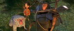 This image released by Focus Features and Laika Studios shows characters Monkey, voiced by Charlize Theron, left, Kubo, voiced by Art Parkinson, and Beetle, voiced by Matthew McConnaghey in a scene from the animated film, 'Kubo and the Two Strings.'