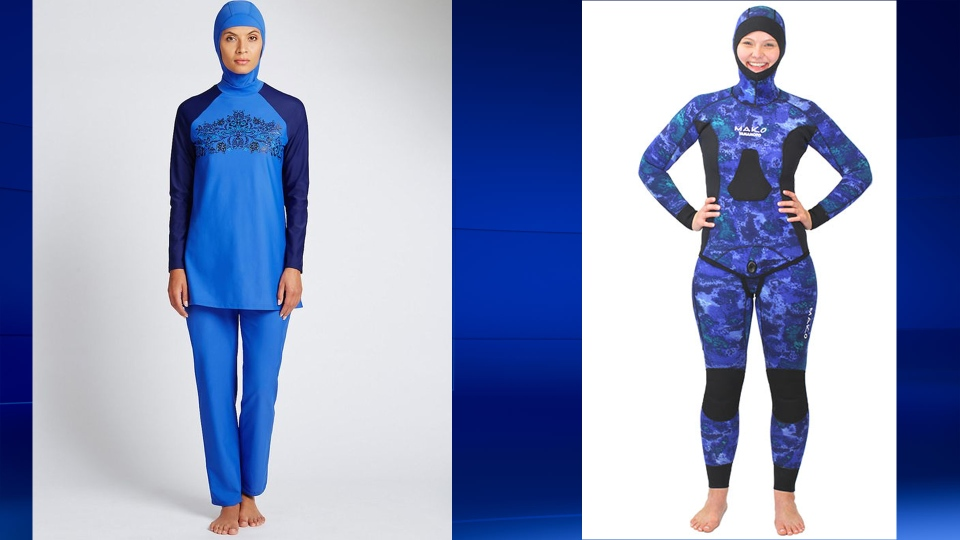 Opposition MNAs say that burkinis, as seen on the left, should be banned in Quebec. Wetsuits, as seen on the right, would presumably remain acceptable.