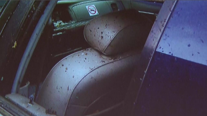 Terry Duffield's taxi after Aaron Driver detonated a device in the backseat.