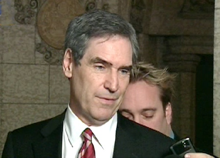 Liberal Leader Michael Ignatieff comments after the party's budget amendment was passed on Parliament Hill in Ottawa, Monday, Feb. 2, 2009.