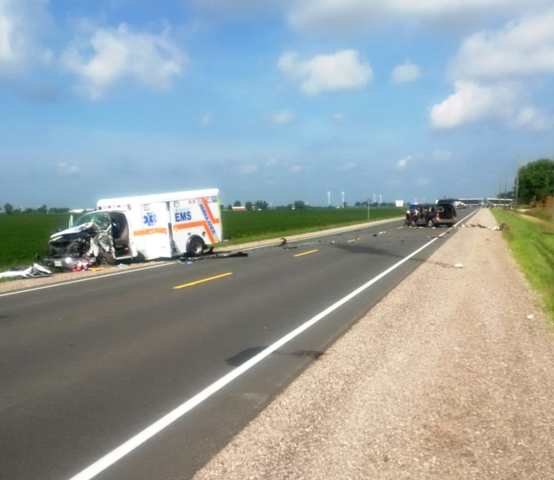 A Chatham-Kent ambulance and minivan collided on Highway 40 in Chatham-Kent on Friday, Aug. 19, 2016. (Courtesy OPP)
