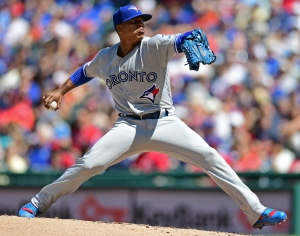 Toronto Blue Jays starting pitcher Marcus Stroman delivers in the fifth inning of a baseball game against the Cleveland Indians, Sunday, Aug. 21, 2016, in Cleveland. (AP Photo/David Dermer)