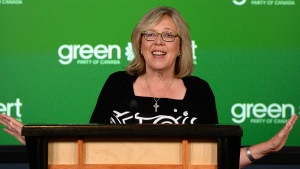 Green Party Leader Elizabeth May gestures as she makes an announcement at the National Press Theatre, in Ottawa on Monday, Aug. 22, 2016. (Justin Tang / THE CANADIAN PRESS)