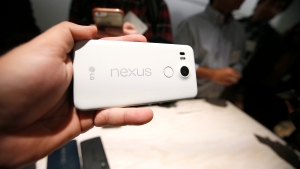 The new Google Nexus 5X models is on display during a Google event on Tuesday, Sept. 29, 2015, in San Francisco. (AP / Tony Avelar)