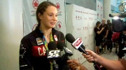 Penny Oleksiak opens up about her success in Rio upon returning home on Tuesday, Aug. 23, 2016.