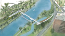Planned footbridge over the canal