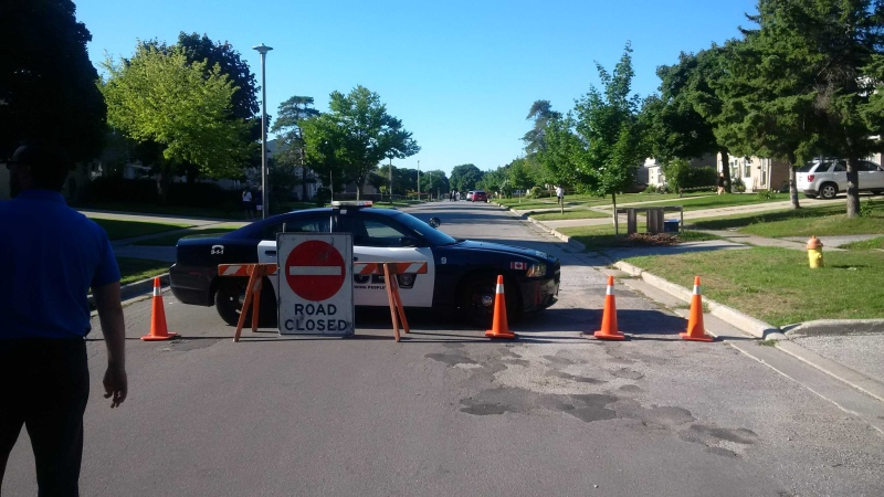Police closed Rogers Street in Sarnia on Tuesday, August 23, 2016 after a man barricaded himself inside. (Twitter / Sarnia Police)
