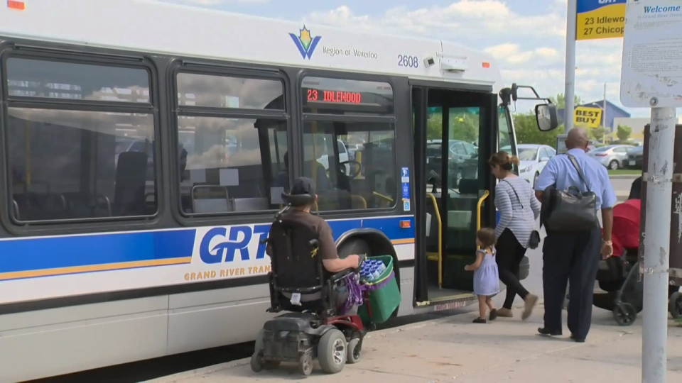 People board a Grand River Transit bus at Fairview Park Mall on Tuesday, Aug. 23, 2016.