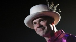 The Tragically Hip's Gord Downie performs during the first stop of the Man Machine Poem Tour at the Save-On-Foods Memorial Centre in Victoria, B.C., Friday, July 22, 2016. (Chad Hipolito / THE CANADIAN PRESS)